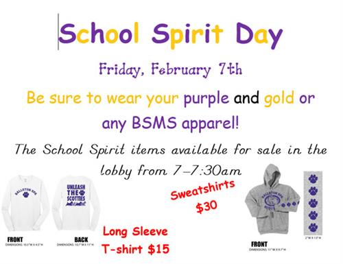 BSMS Spirit Day Coming Up Soon!