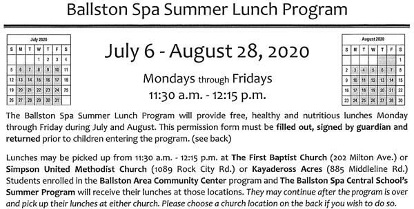 Ballston Spa Summer Lunch Program