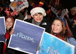 BSMS cast of Frozen Jr. participating in the Ballston Spa Holiday Parade