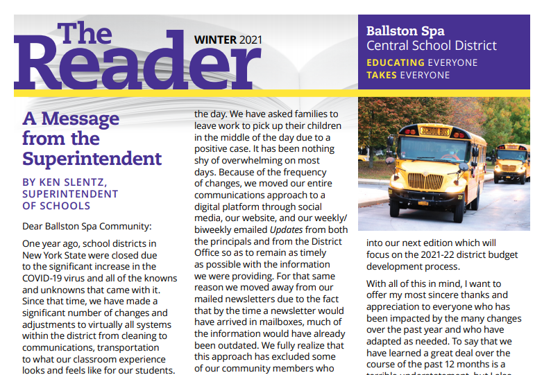 The Ballston Spa CSD READER - Now online...