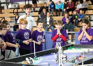 Malta Bots react to a successful mission at FLL Competition