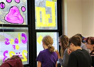Spirit Week Window Painting at BSHS