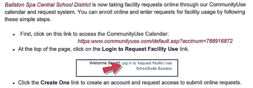 BSCSD Facility Use online system